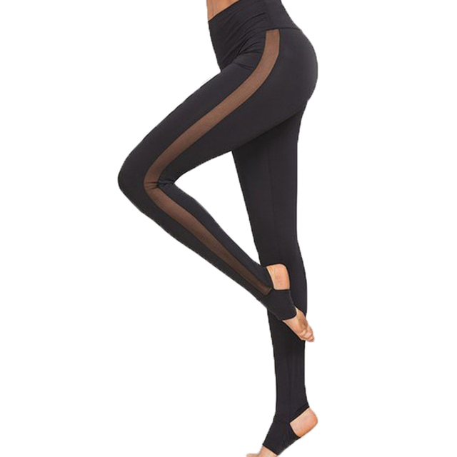 c703a406eea95 2018 Ladies Mesh Pants See Through Leggings Casual Womens Black Wide  Waistband Mesh Insert Stirrup Leggings