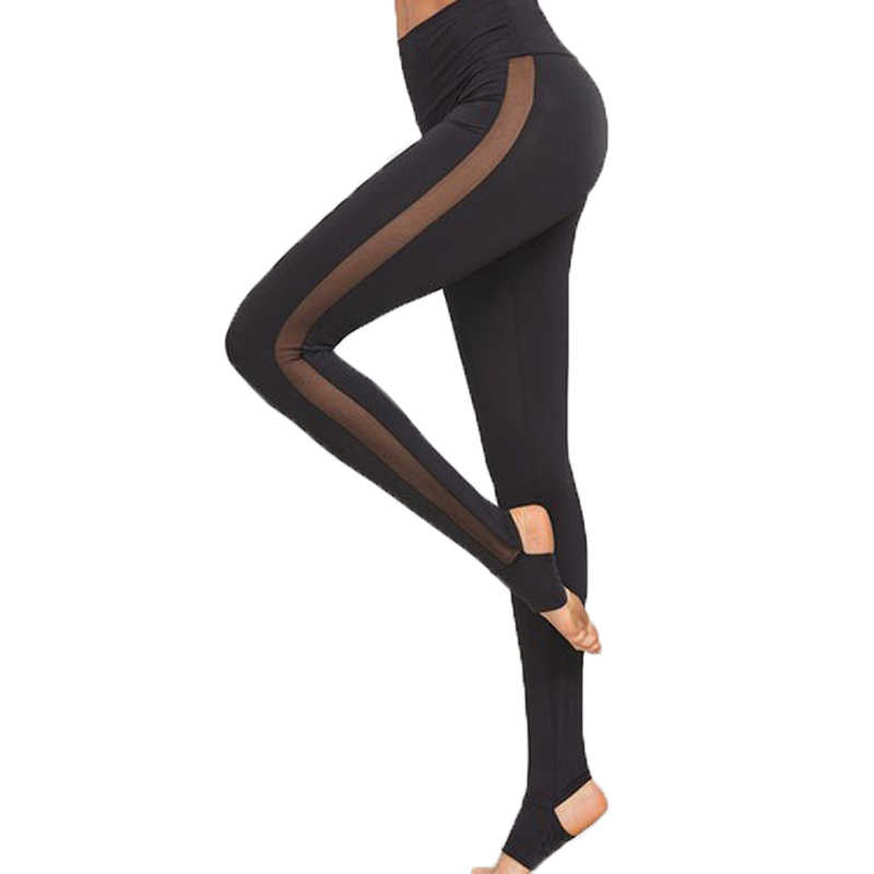 b81821e3a40b1 Detail Feedback Questions about 2018 Ladies Mesh Pants See Through Leggings  Casual Womens Black Wide Waistband Mesh Insert Stirrup Leggings on ...