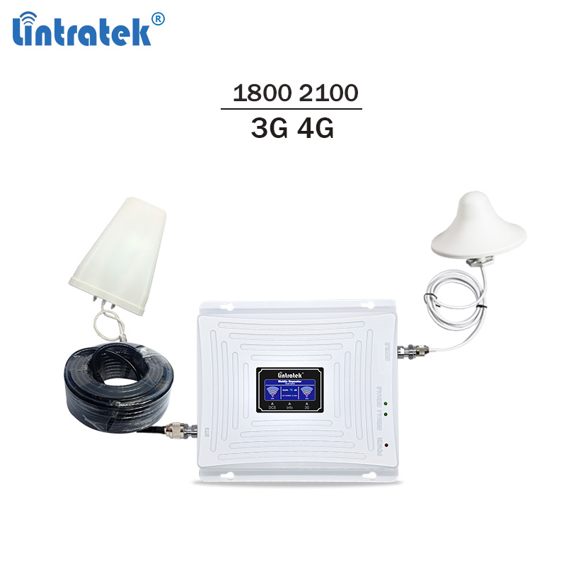 Lintratek 3G 4G Signal Booster 2100 1800Mhz 3G Repeater 4G LTE Amplifier 65dB LTE Repeater Mobile Signal Amplifier DCS WCDMA #41