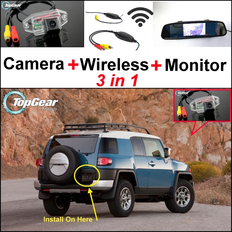 3 in1 Special Rear View Camera + Wireless Receiver + Mirror Monitor Easy DIY Back Up Parking System For TOYOTA FJ Cruiser for ford escape maverick mariner car parking sensors rear view back up camera 2 in 1 visual alarm parking system