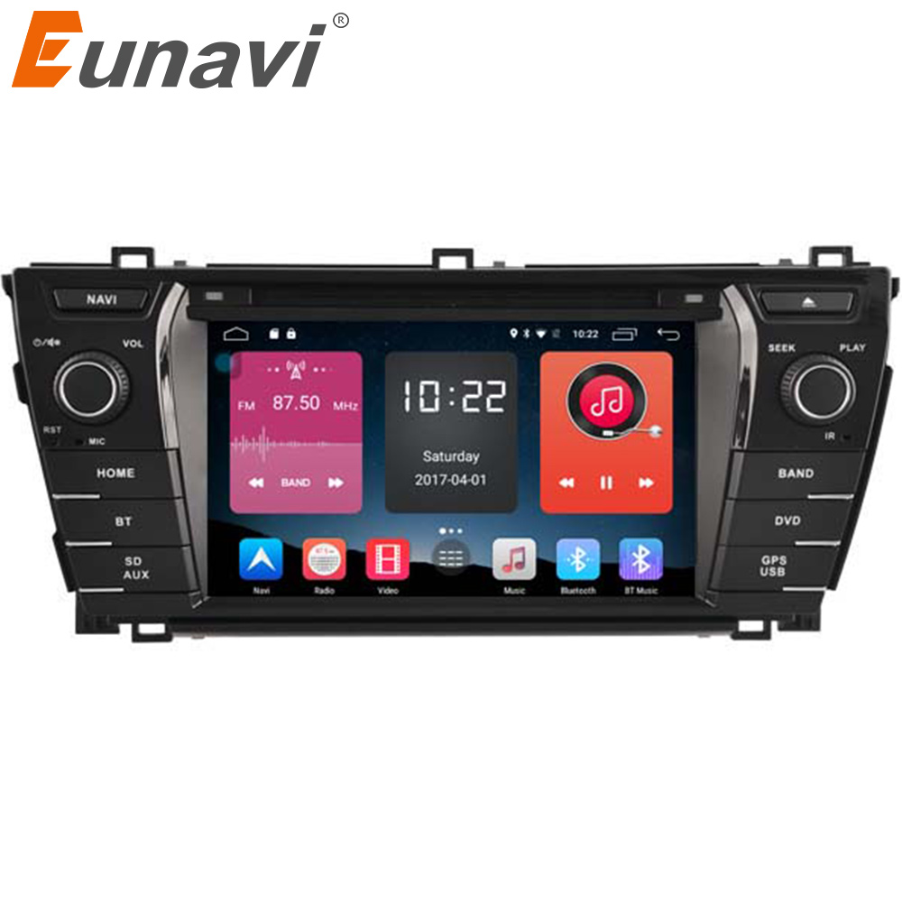Eunavi 7 inch Android 6.0 Car Radio DDR3 2G /4G LTE Quad Core 2din Car DVD GPS Navigation Head Unit For Toyota Corolla 2014