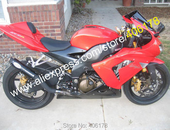For NINJA ZX 10R 10R 2004 2005 ZX-10R 04 05 ZX10R Red Black Customized Motorcycle Fairing (Injection molding)
