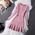 2016 women's new arrival winter women dress small fish tail deerskin fleece long-sleeve autumn and winter one-piece casual dress