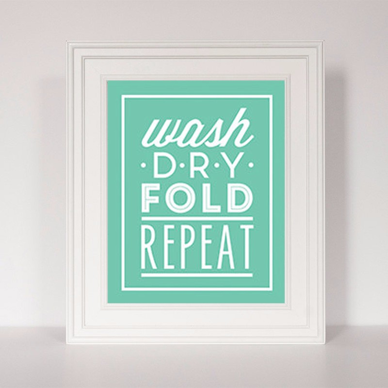HOT Wash DRY Fold Repeat Quote , Laundry Room Art Sign Funny Art Poster, Canvas Painting Poster Canvas Art Home Doecr no frame