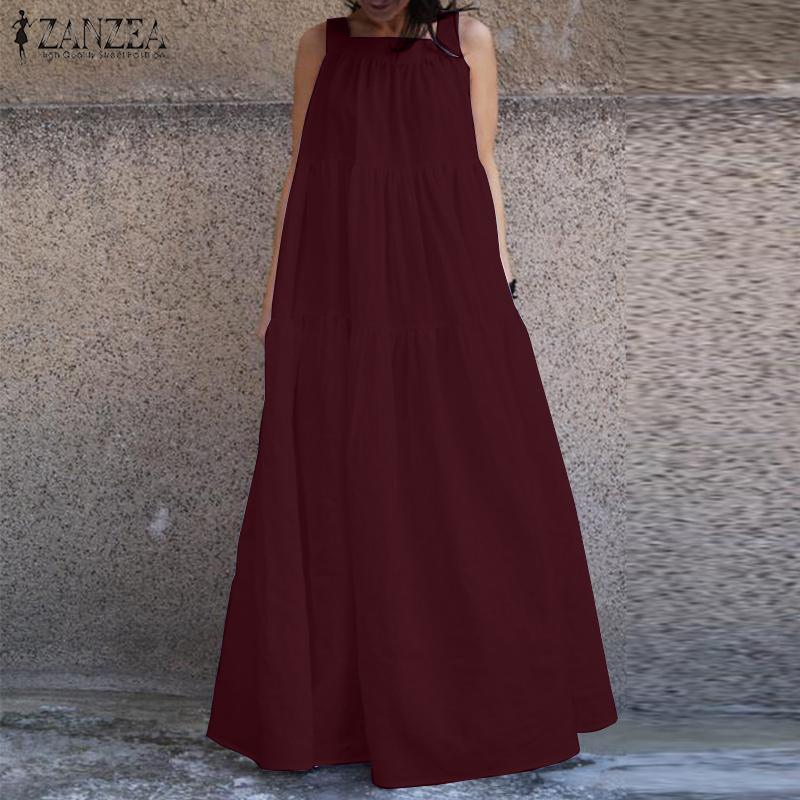 2020 ZANZEA Strap Ruffle Maxi Dress With Belt Fashion Sarafans Vestido Women's Sundress Female Casual Party Robe Femme Plus Size
