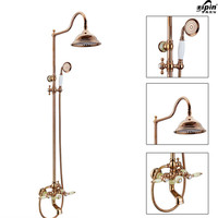 Classic Luxury PVD Rose Gold Plate Lifting Wall Mounted Bath Shower Set Antique Faucet Mixer Taps Rainfall Head Handheld Spray