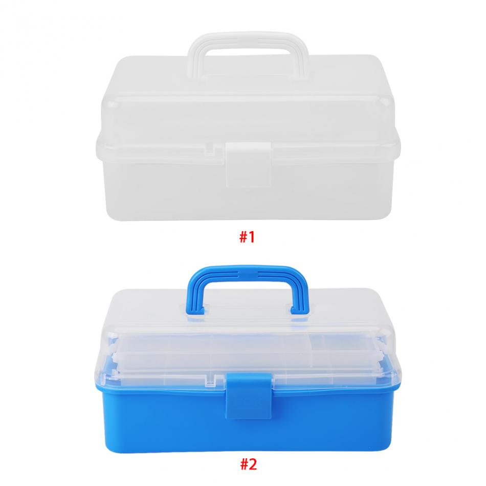 Transparent Folded Tool Box Work-box Foldable Toolbox Medicine Cabinet Manicure Kit Work In For Storage