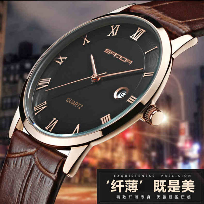 SANDA 7mm Super Slim Mens Watches Top Brand Luxury Watch Men Genuine Leather Gold Watches For Men horloges mannen reloj hombre bewell 2017 hot sale fashion wood watch men mens watches top brand luxury reloj hombre big horloges mannen with gift box 100ag