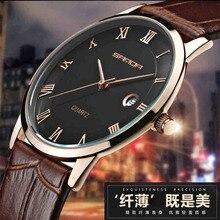 SANDA 7mm Super Slim Mens Relojes de Primeras Marcas de Lujo Reloj los hombres de Cuero Genuino reloj de Oro Relojes Para Hombres horloges mannen hombre
