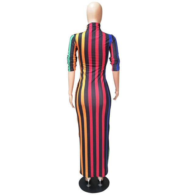 New 2018 Autumn Women Sexy Multi-Color Striped Print Stand Collar Full Sleeve Skinny Midi Maxi Dress Bodycon Long Dresses C617