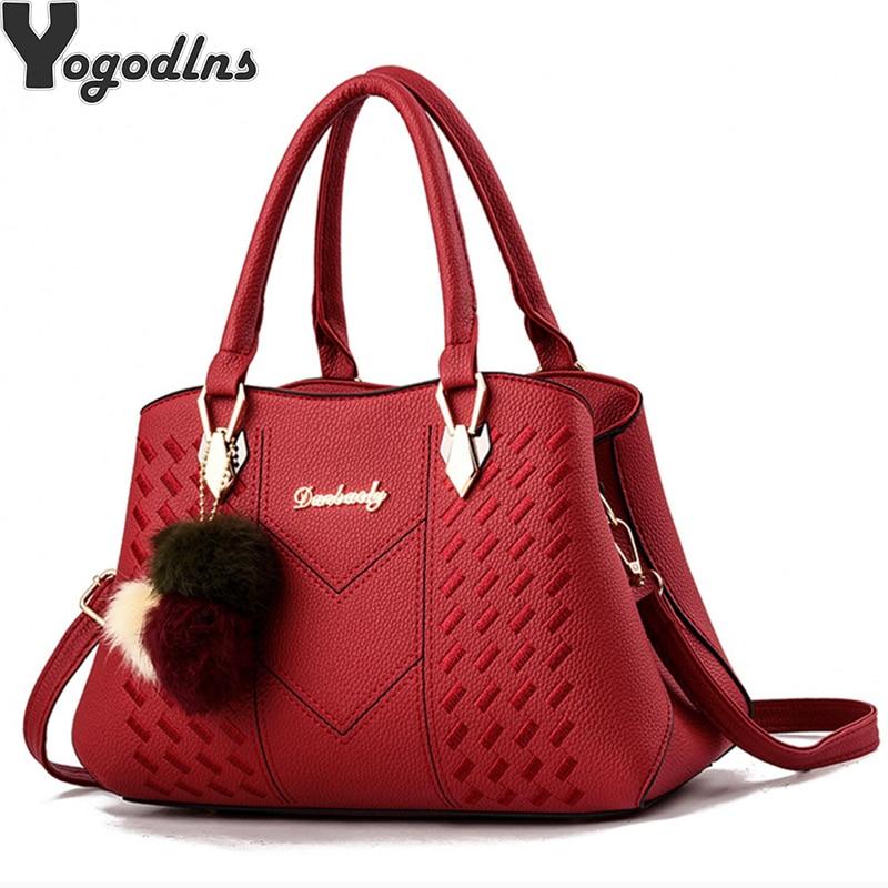 7a34d4350804 Женская сумка с помпоном для волос, сумка на плечо для женщин 2019, сумка с  ручкой сверху, женская сумка из искусственной кожи, сумка-мессендже.