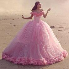 Luxurious Pink Ball Gown Flowers Wedding Dresses With Long Train Off the Shoulder Vintage Bridal Gown Vestido De Novia 2016