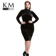 Kissmilk плюс Размеры женская одежда одноцветное женская одежда Элегантный длинным рукавом Винтаж велюр платье молния большой Размеры платье 5xl 6xl 7XL