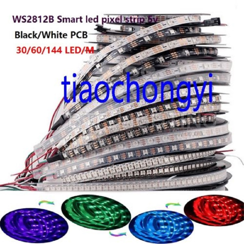 <font><b>WS2812B</b></font> <font><b>5050</b></font> RGB LED Strip 1M-5M 150 300 Leds Individual Addressable 5V IP60 IP67 image
