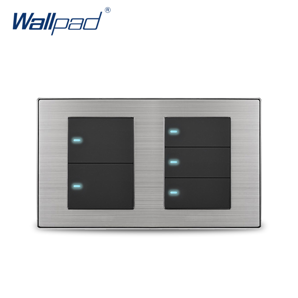 цена на Wallpad 5 Gang 2 Way Wall Switch With LED Indicator Luxury Satin Metal Panel Wall Light Switch 10A AC110~250V 160*86mm