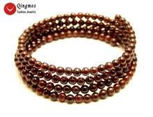 Женские трендовые гранатовые браслеты qingmos круглые коричневые