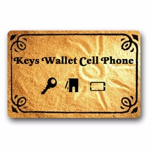 Entrance Floor Mat Non-slip Keys Wallet Cell Phone Door Outdoor Indoor Rubber Non-woven Fabric Top 15.7x23.6 Inch