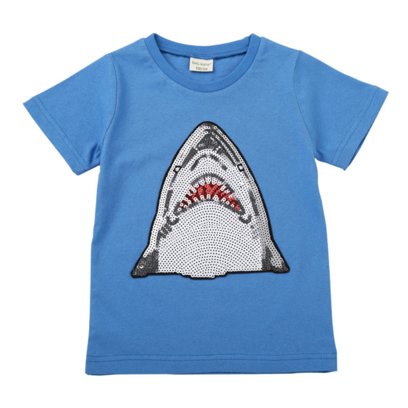 new hot style boy tops cotton T-shirts sequin decoration Jaws shark T-shirt cartoon paillettes T shirt for boys kids gifts 2-8Tnew hot style boy tops cotton T-shirts sequin decoration Jaws shark T-shirt cartoon paillettes T shirt for boys kids gifts 2-8T