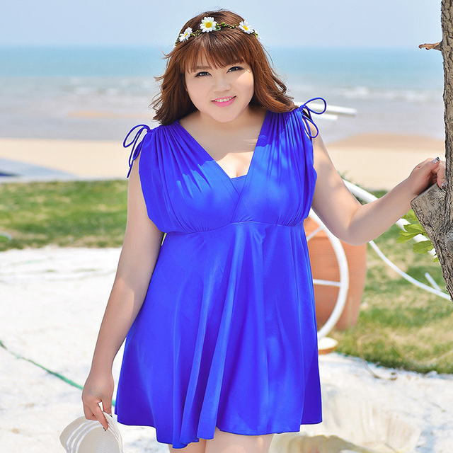 2018 Plus Size Swimwear One Piece Bathing Suit Solid Color Sleeve Women Dress Swimsuit Big Girl Skirt Beach Dress 4XL - 12XL