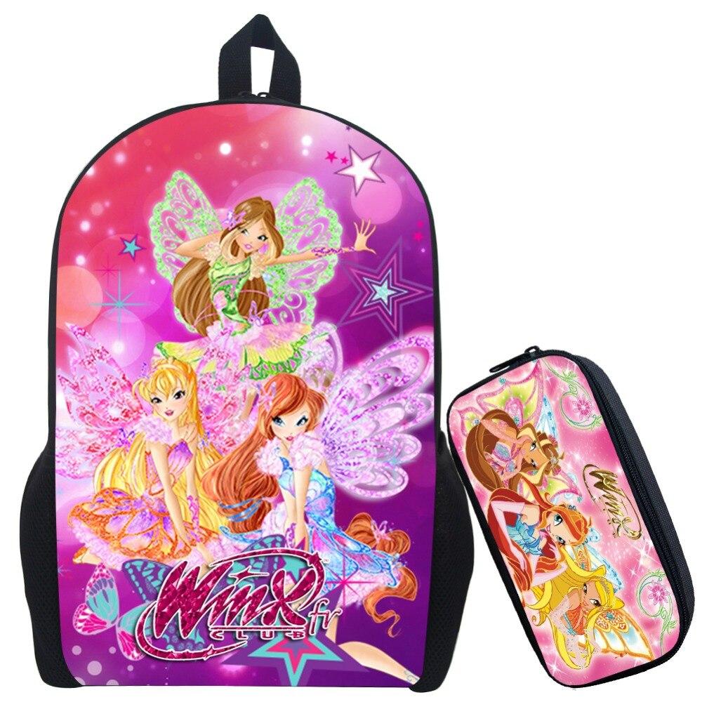 17 Inch Winx Club Girls Backpack for Teenagers Girls Cartoon School Bag Children Printin ...