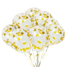 1000pcs/lot high quality clear Latex balloons 3.2g 12inch with gold  for wedding Birthday party decorations confetti balloon
