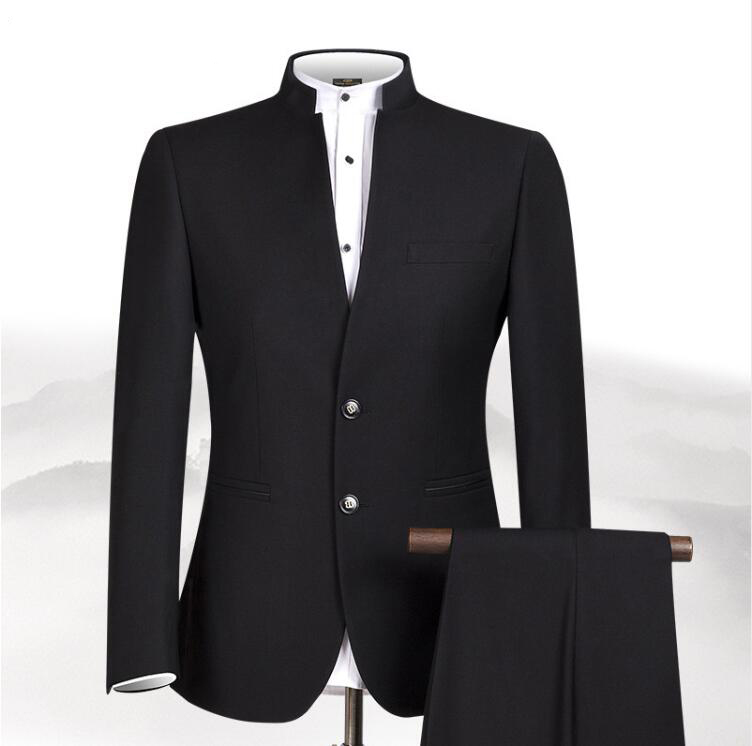 2019 New Style Men Chinese Tunic Collar Bridegroom Suit Formal Wear Dress Slim Fit Mens Suits Groom Wedding Blazer Costume Homme