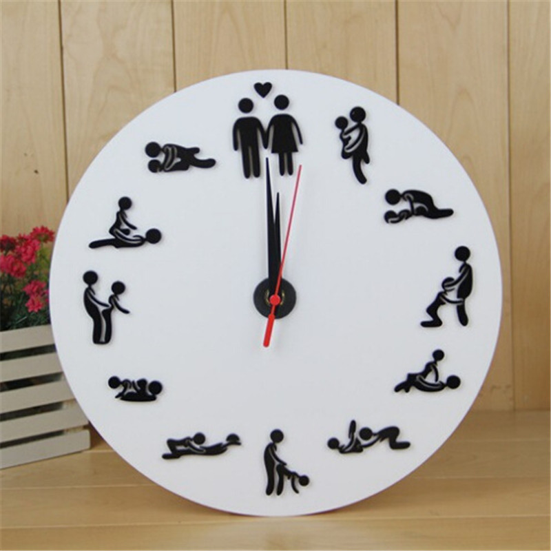 Free Shipping 1Piece Kama Sutra Sex Position Clock / 24Hours Sex Clock / Novelty Wall Clock(China)