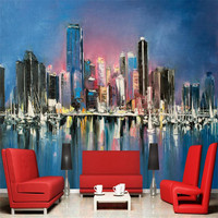 Wallpapers YOUMAN Custom Modern 3d Effect Photo Wallpaper Large Abstract Hands Painting Home Decorate Wall Mural City Wallpaper