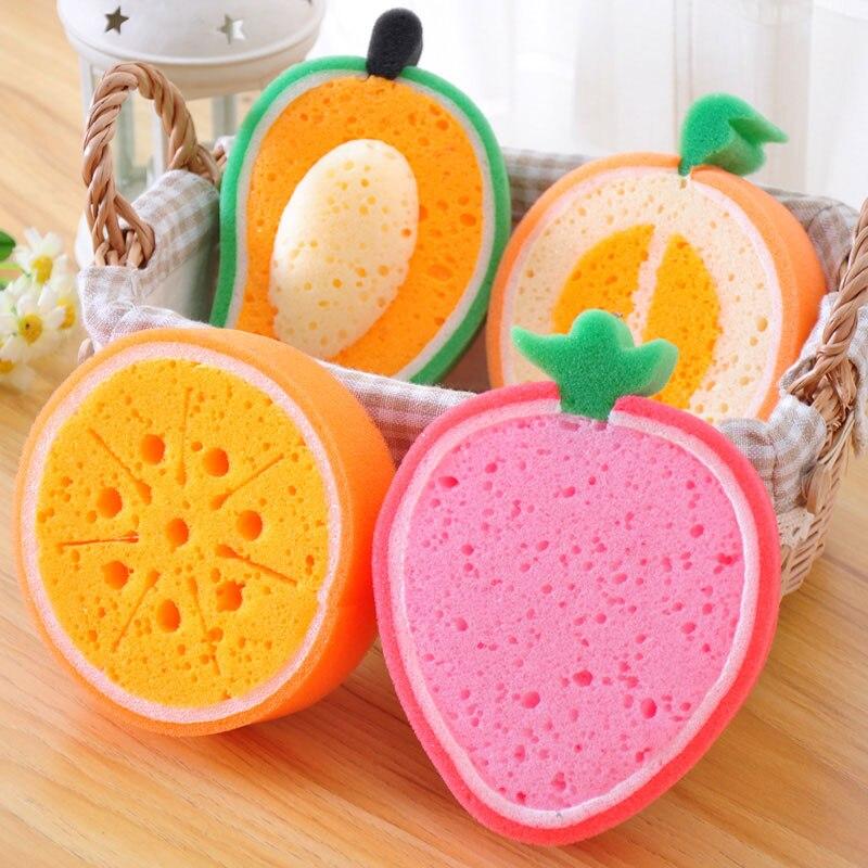 1 pcs Creative Fruits Sponge Brush Tableware Glass Washing Cleaning Kitchen Cleaner Tool
