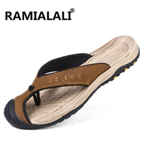 Ramialali New Summer Men Flip Flops 2018 High Quality Beach Sandals Non Slide Male Slippers Genuine Leather Zapatos Hombre