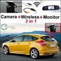 3 in1 Especial Cámara de Visión Trasera + Receptor Inalámbrico + Espejo Sistema de Copia de Seguridad Aparcamiento Monitor de BRICOLAJE Para Ford Focus MK3 2010 ~ 2015