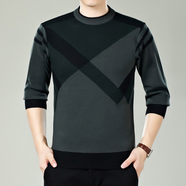 2018 Winter Business Round Collar Men's Knit Shirt