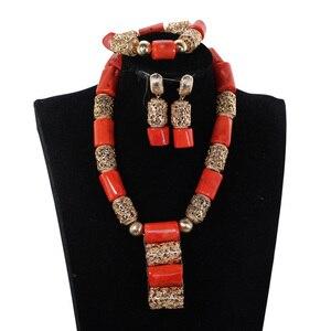 Image 2 - Echte Korallen Halskette Schmuck Set für Bräute Nigerian Afrikanischen Hochzeit Korallen Perlen Schmuck Set Gold Dubai Party Perlen CNR319