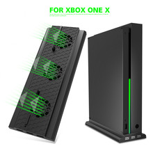 OIVO Vertical Stand Host Cooling Fan Stand Holder External Cooler 3 USB Ports Fans for Xbox One X Game Console