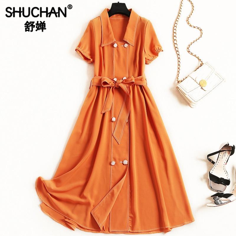 Shuchan rétro robe d'été vêtements pour femmes solide bouton col rabattu nouveau 2019 mode robes femmes à manches courtes 51185