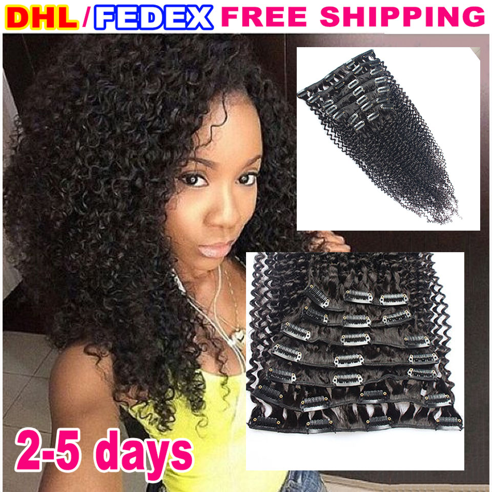 7a Full Head Mongolian Kinky Curly Clip In Human Hair Extension 120g