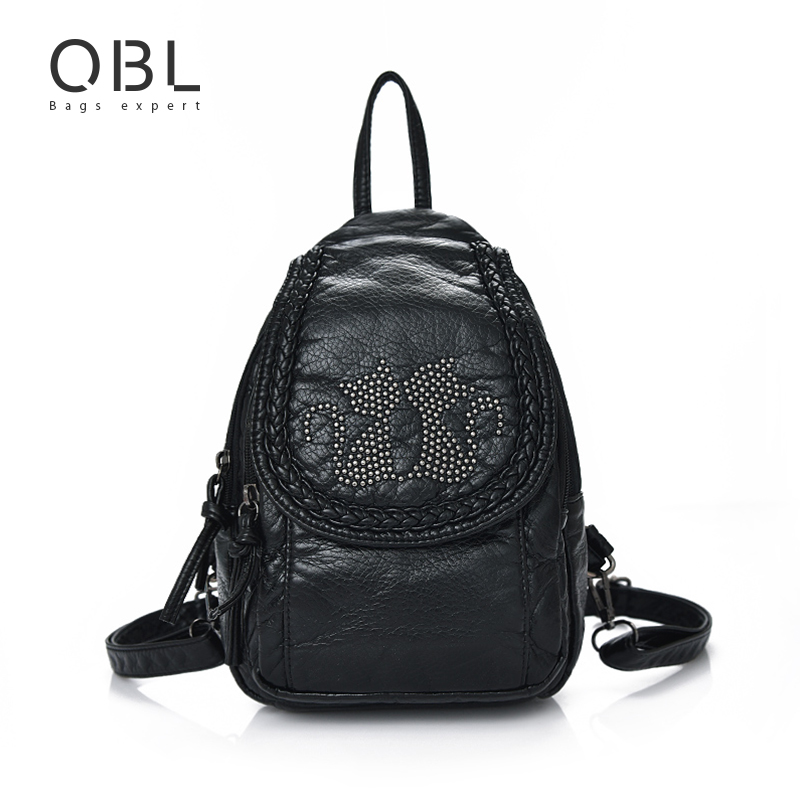 QiBoLu Mini Small Backpack Women Bag Black Travel School Bags Teenage Girls Female Mochilas Mujer Feminina Sac a Dos Femme W672 vintage cute owl backpack women cartoon school bags for teenage girls canvas women backpack brands design travel bag mochila sac