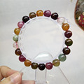 9mm Multi Colors Natural Tourmaline Gem Stone Stretch Bracelets For Women Lady Transparent Round Beads Crystal Charm Bracelet