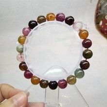 9mm Colores Multi Joya Natural Turmalina Granos Redondos de Piedra Pulseras del Estiramiento Para Las Mujeres de la Señora Transparente Crystal Charm Bracelet