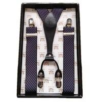 Gift Box Mens Genuine Leather Suspenders Y Back Retro Braces Clip On Black 3 5cm 100cm