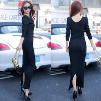 2017 Autumn And Winter Women Sweater Dress Slim V Collar Sexy Long Sleeve Ankle Length Dress
