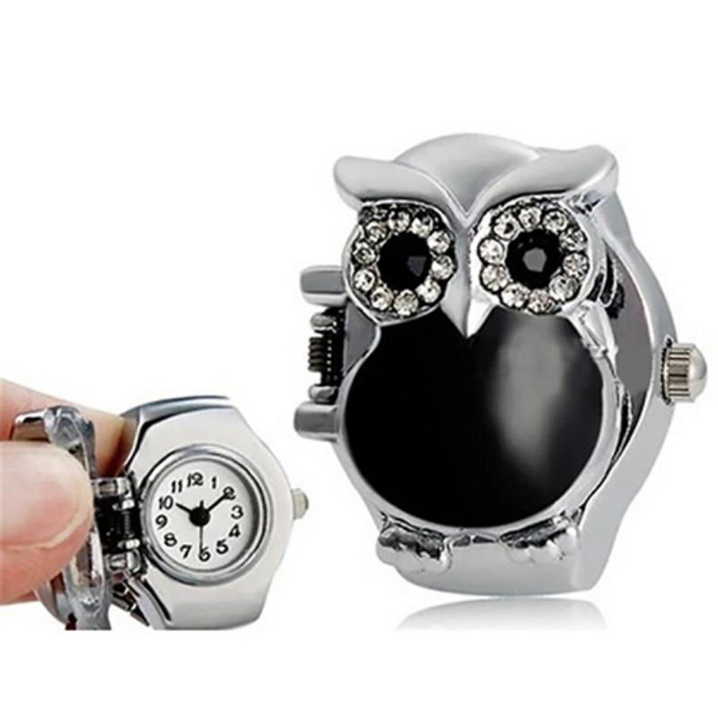 Women Girl Shiny Rhinestone Owl Case Stainless Steel Elastic Finger Ring Watch