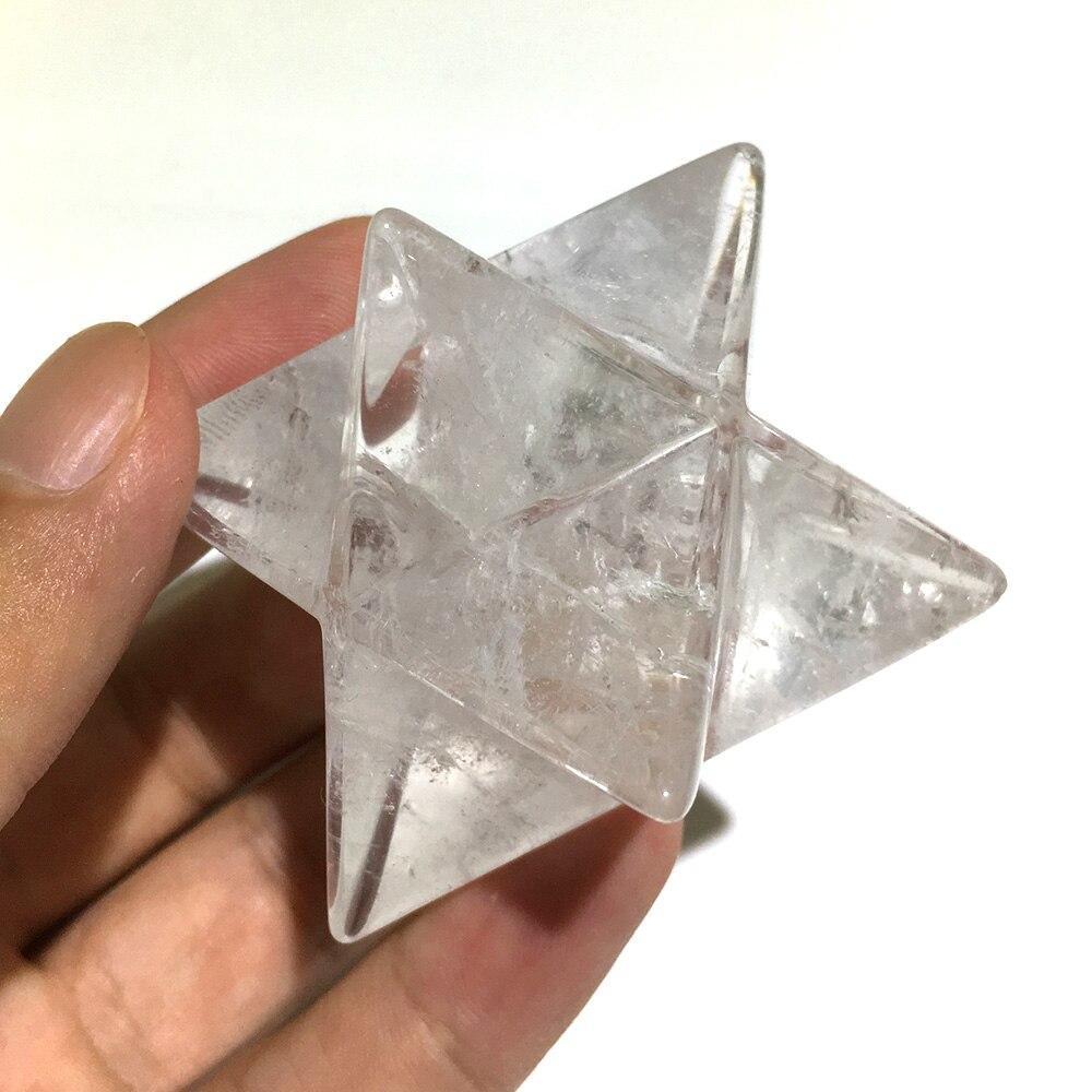 4 cm Natural White Clear Quartz Merkabah Pendulum Crystal Stones Merkaba Stars Pendant Jewelry Necklace Healing Energy Minerals