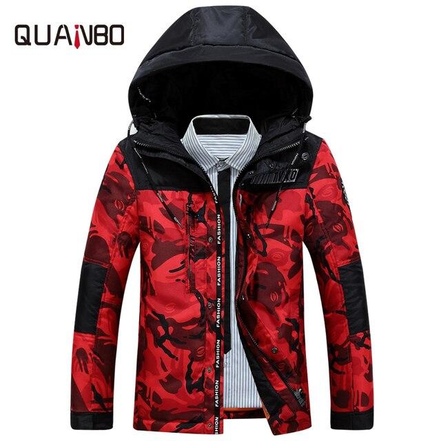 2de7d9a68 € 45.96 49% de DESCUENTO|QUANBO marca ropa 2018 nueva llegada de los  hombres jóvenes abajo chaqueta delgada gruesa corta moda camuflaje hombres  ...
