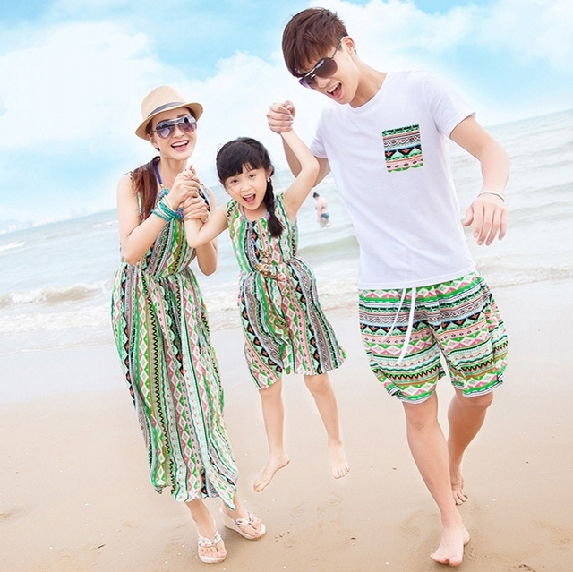2017 summer sand beach bohemian dress child clothes mother and daughter clothes matching family clothing  family look 025jy
