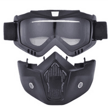 mate black Mortorcycle Mask Detachable Goggles and Mouth Filter for Open Face Helmet Motocross Ski Snowboard