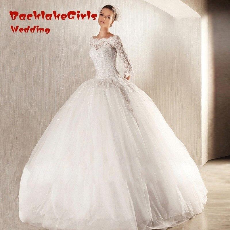 Vestido de noiva Long Sleeve Scoop Neck Ball Gown font b Wedding b font font b