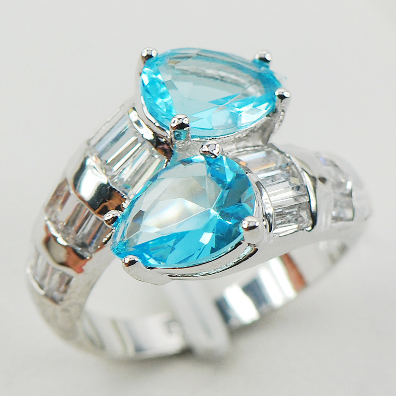 Simulated Aquamarine White Crystal Zircon Women 925 Sterling Silver Ring F960 Size 6 7 8 9 10