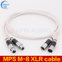 PAPRI MPS M 8 XLR Carbon fiber rhodium plating Plugs Connector 99.9997% OFC Silver Plated Cable For Audio Amplifier 1Pair