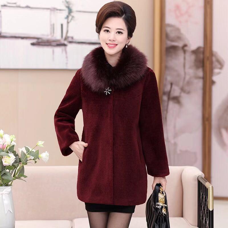 Femmes Bouton Col D'hiver Noir Fourrure Manteau Veste De Femme Couverts bourgogne Laine Mode Nouvelle Correspondant Vêtements Oq4nqt0xU